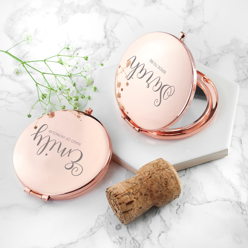 Personalised Round Rose Gold Compact Mirror - treat-republic