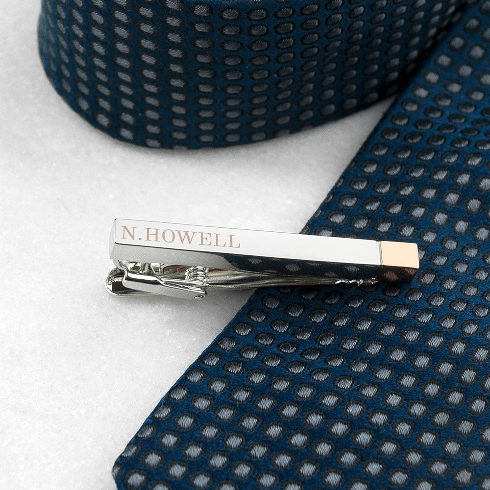 Personalised Two Tone Tie Clip - treat-republic