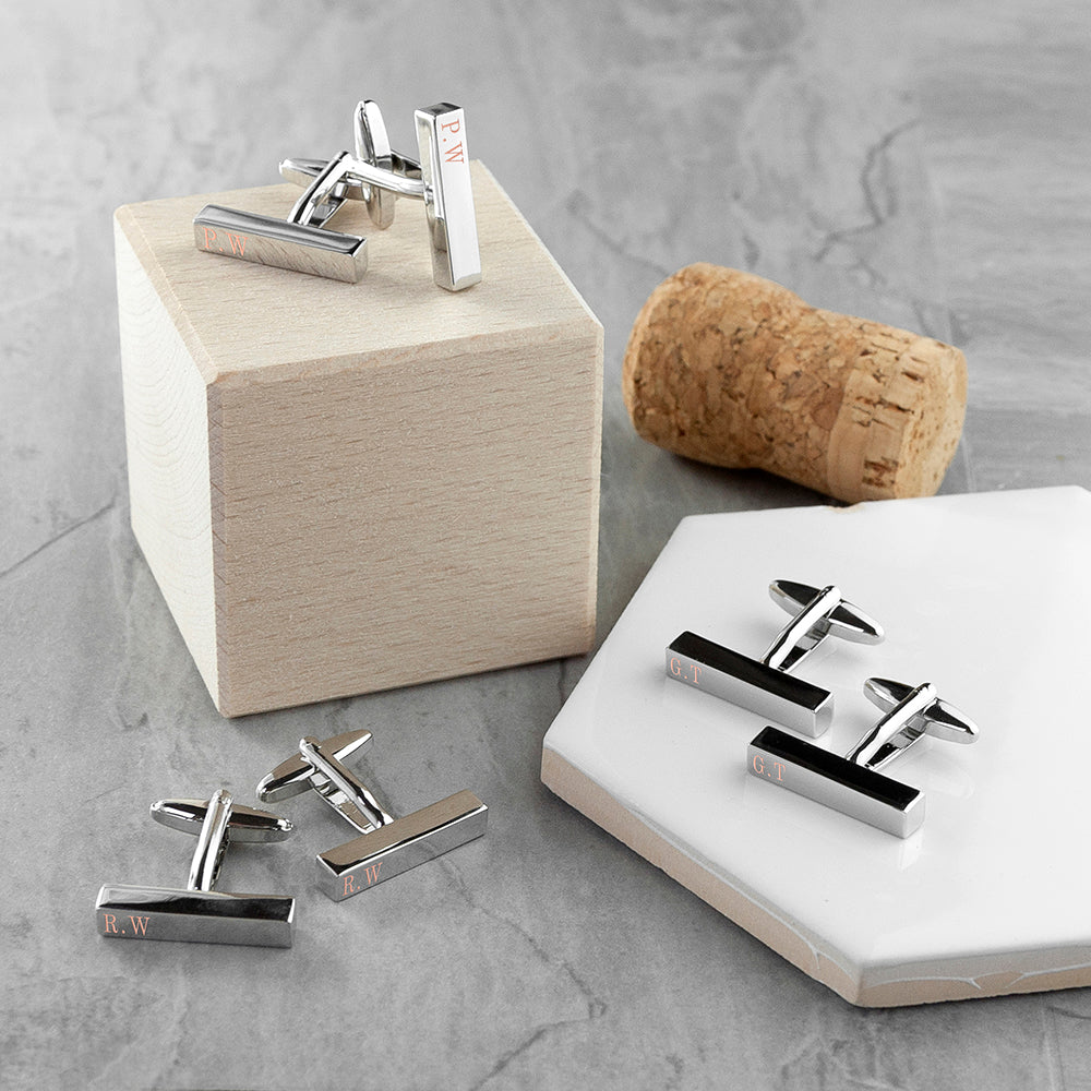 Personalised Monogrammed Bar Cufflinks - treat-republic