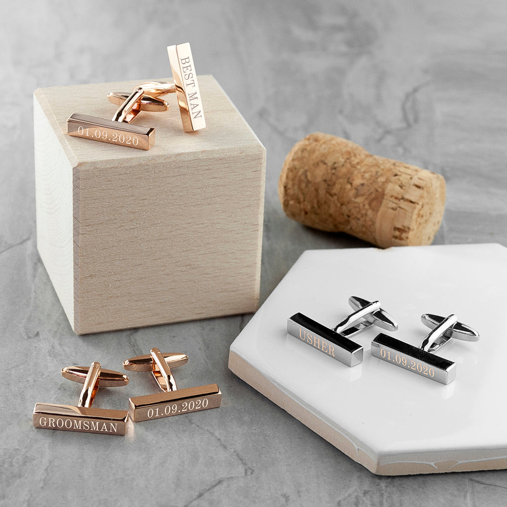 Personalised Bar Cufflinks for Weddings - treat-republic