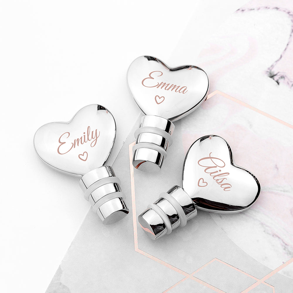 Personalised Love Heart Silver Plated Bottle Stopper - treat-republic
