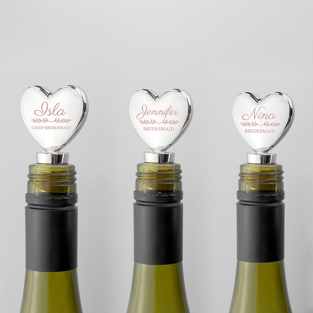 Personalised Wedding Silver Plated Heart Bottle Stopper - treat-republic
