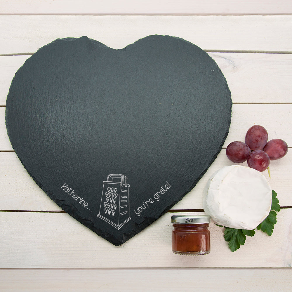 "Romantic Pun ""You're Grate"" Heart Slate Cheese Board - treat-republic"