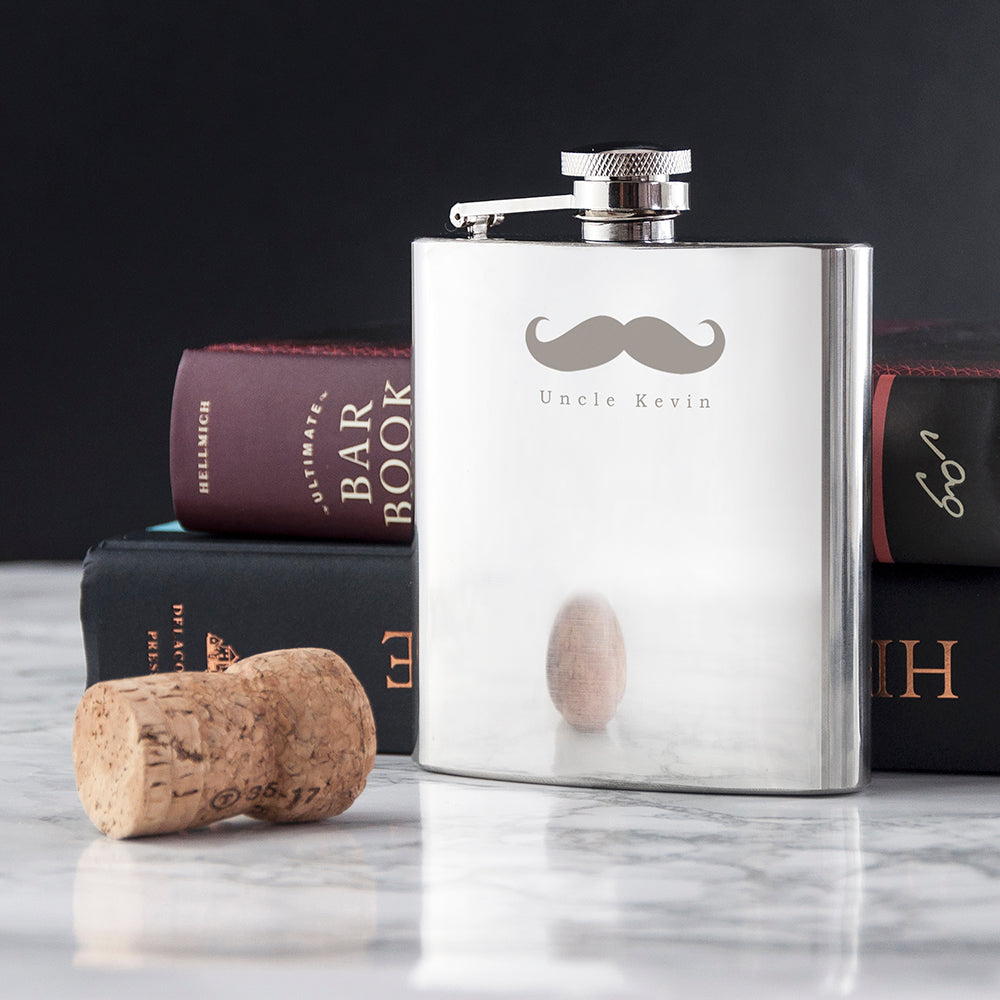Moustache 6oz Hip Flask - treat-republic