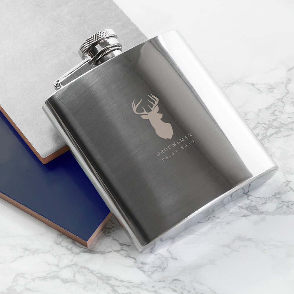 Stag 6oz Hip Flask - treat-republic