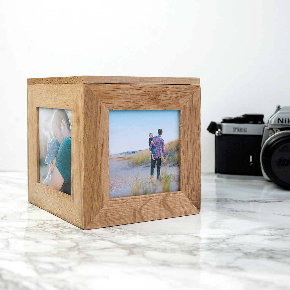 Personalised Oak Photo Cube Keepsake Box