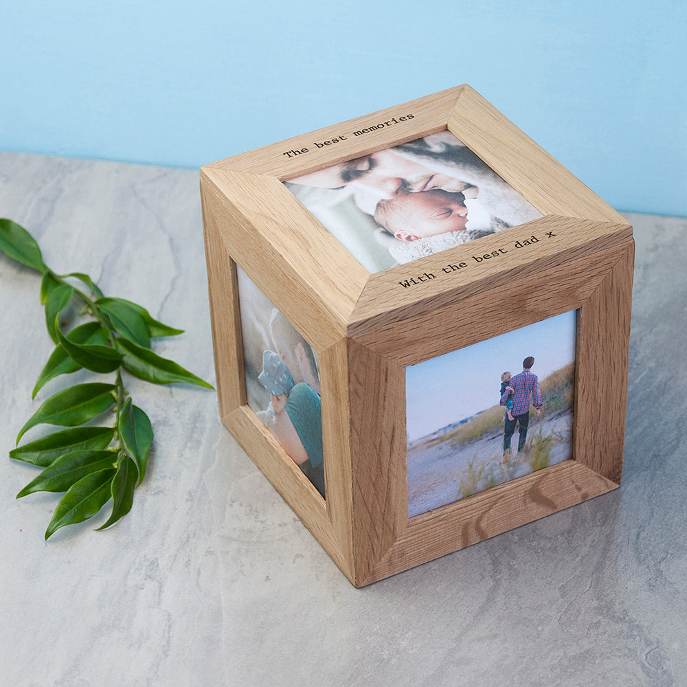 Personalised Oak Photo Cube Keepsake Box - treat-republic