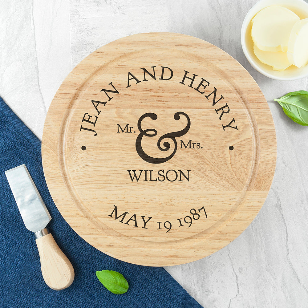 Mr and Mrs Classic Cheese Board Set - treat-republic