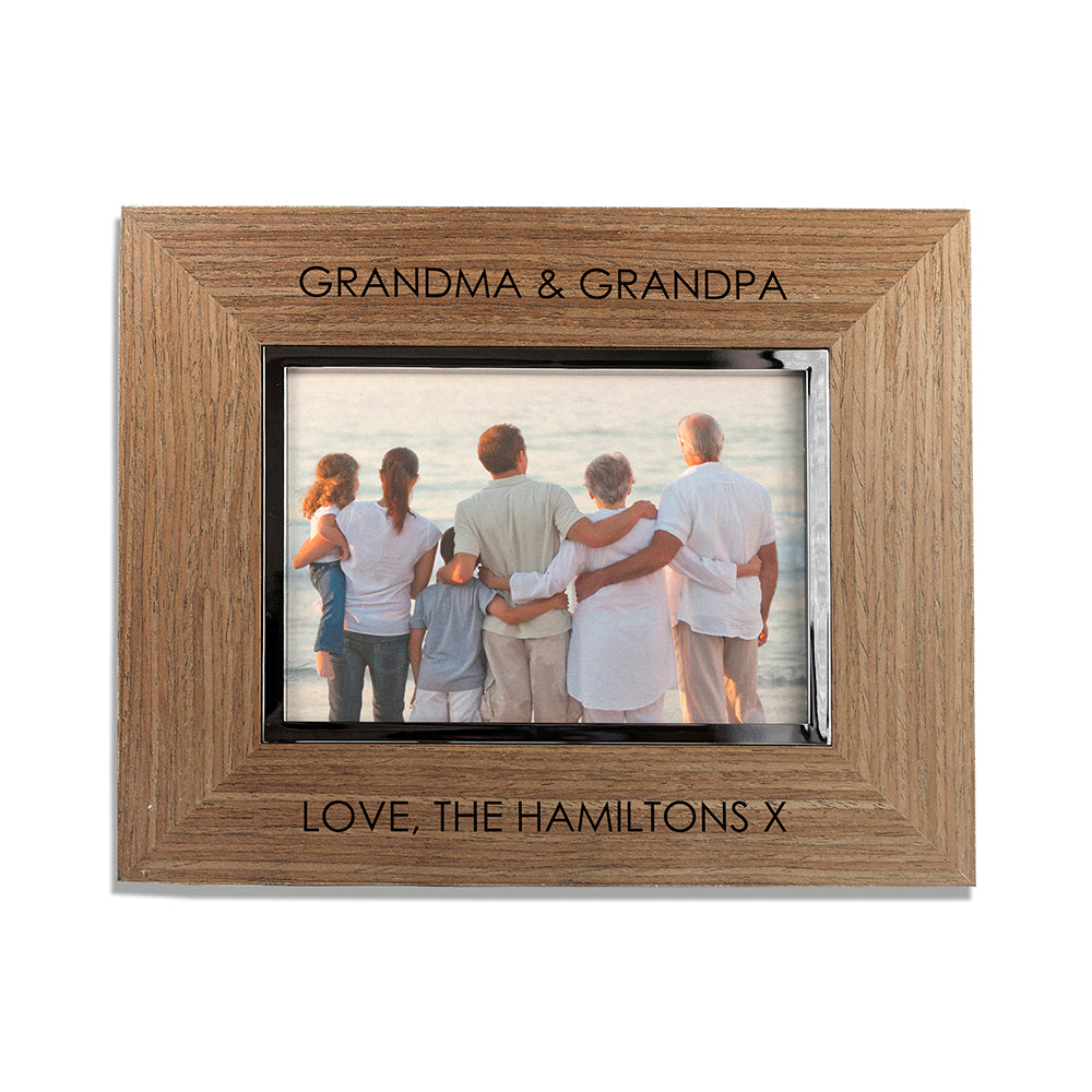 Contemporary Walnut Engraved Photo Frame - treat-republic
