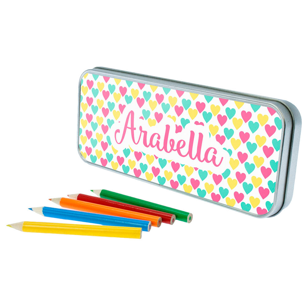 Colourful Heart Pattern Pencil Case