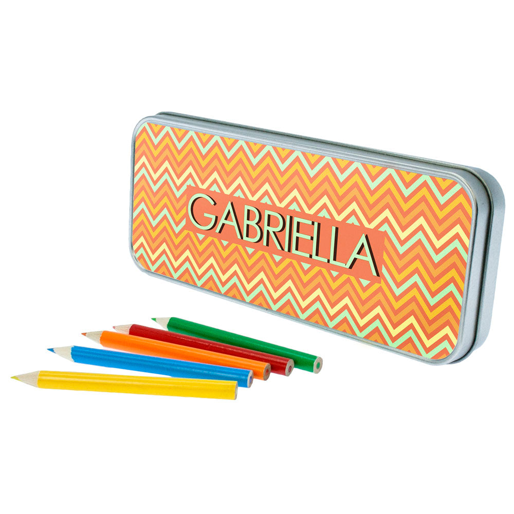 Orange Chevron Pattern Pencil Case - treat-republic