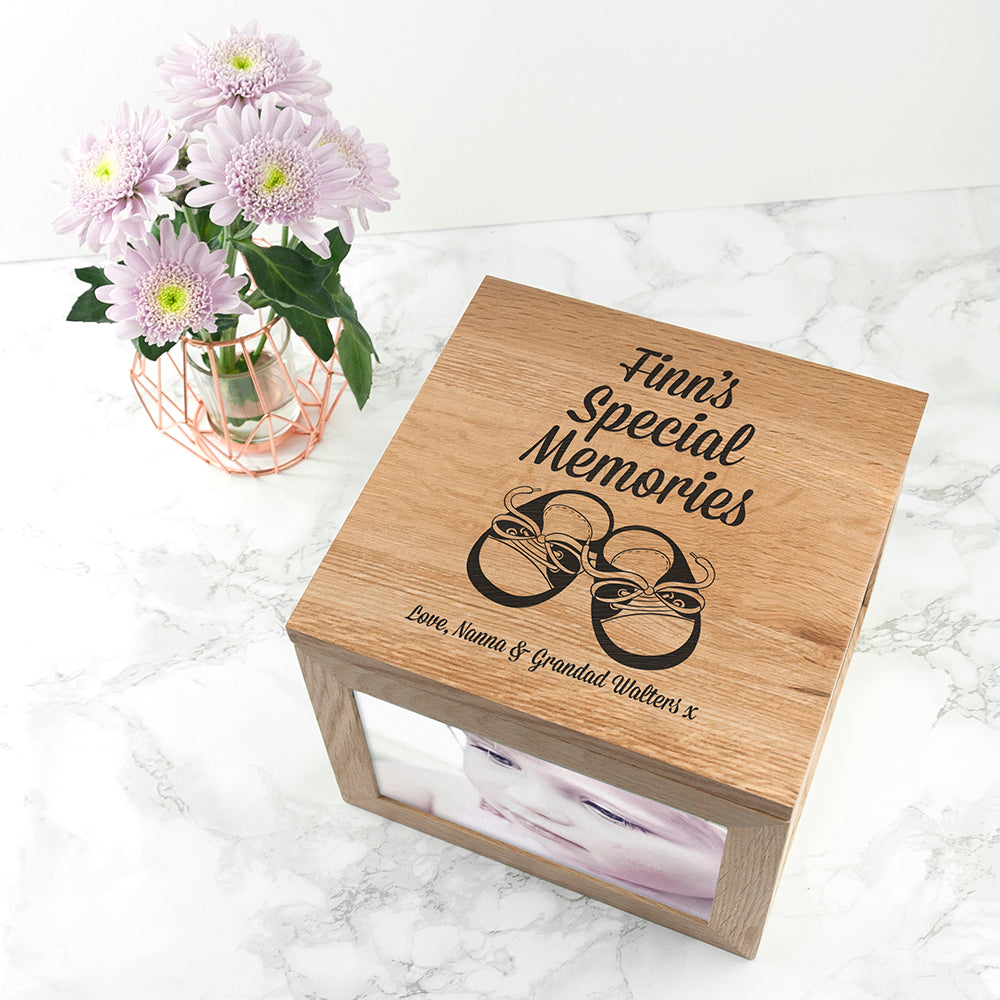Baby Shoes Oak Photo Keepsake Box - treat-republic