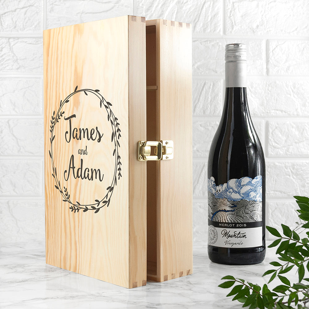 Romantic Wreath Double Wine Box - treat-republic