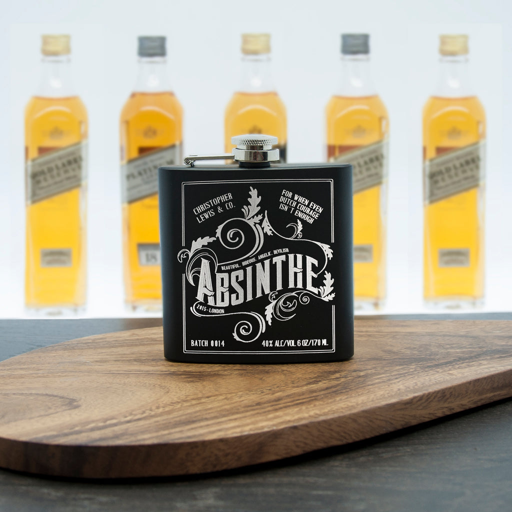 Personalised Absinthe Vintage Hip Flask - treat-republic