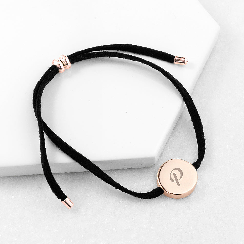 Personalised Always with You Initial Black Bracelet