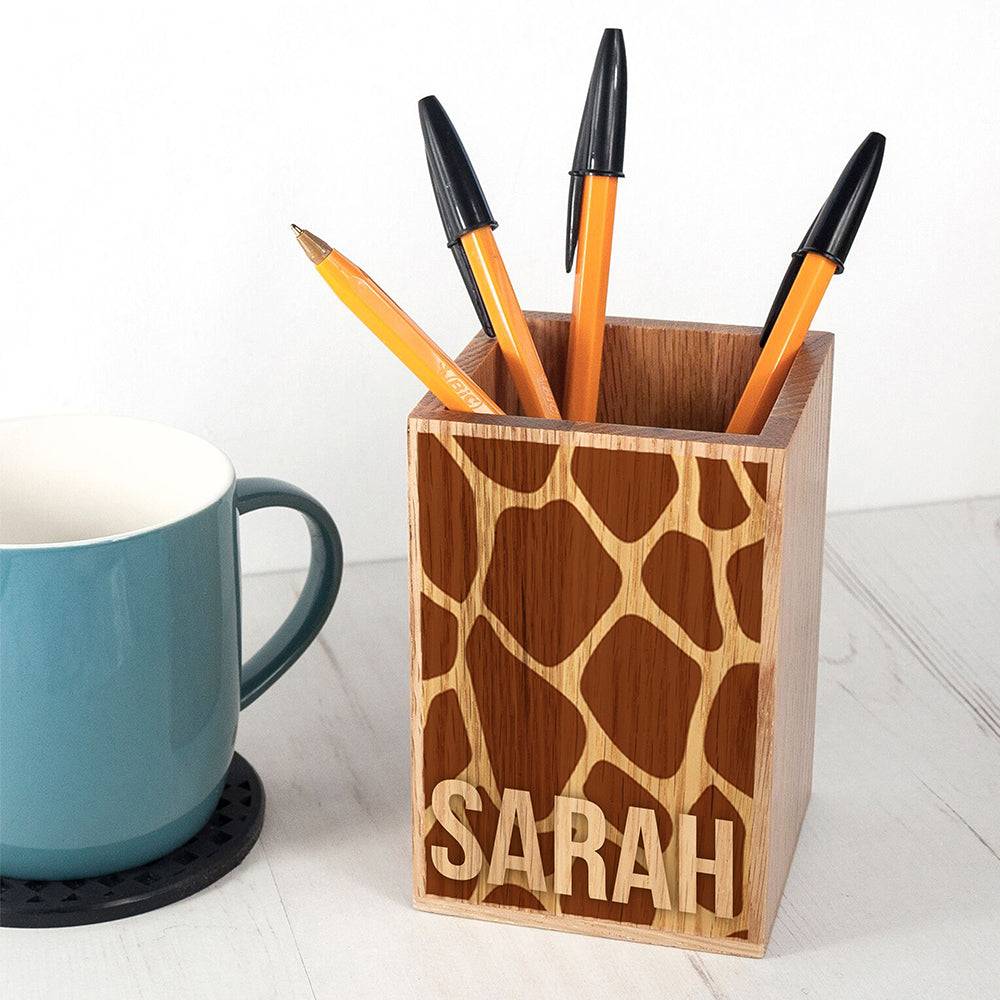 Personalised Animal Print Pen Pot - treat-republic