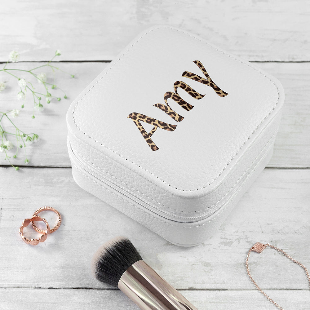 Personalised Animal Print White Travel Jewellery Case