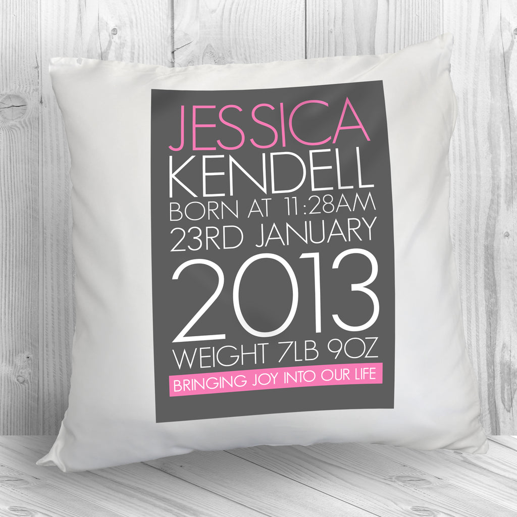 Personalised Baby Cushion Cover in Pink - treat-republic