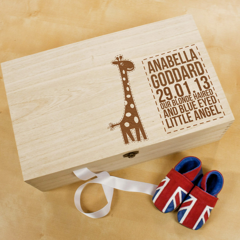 Personalised Baby Giraffe Keepsake Box - treat-republic