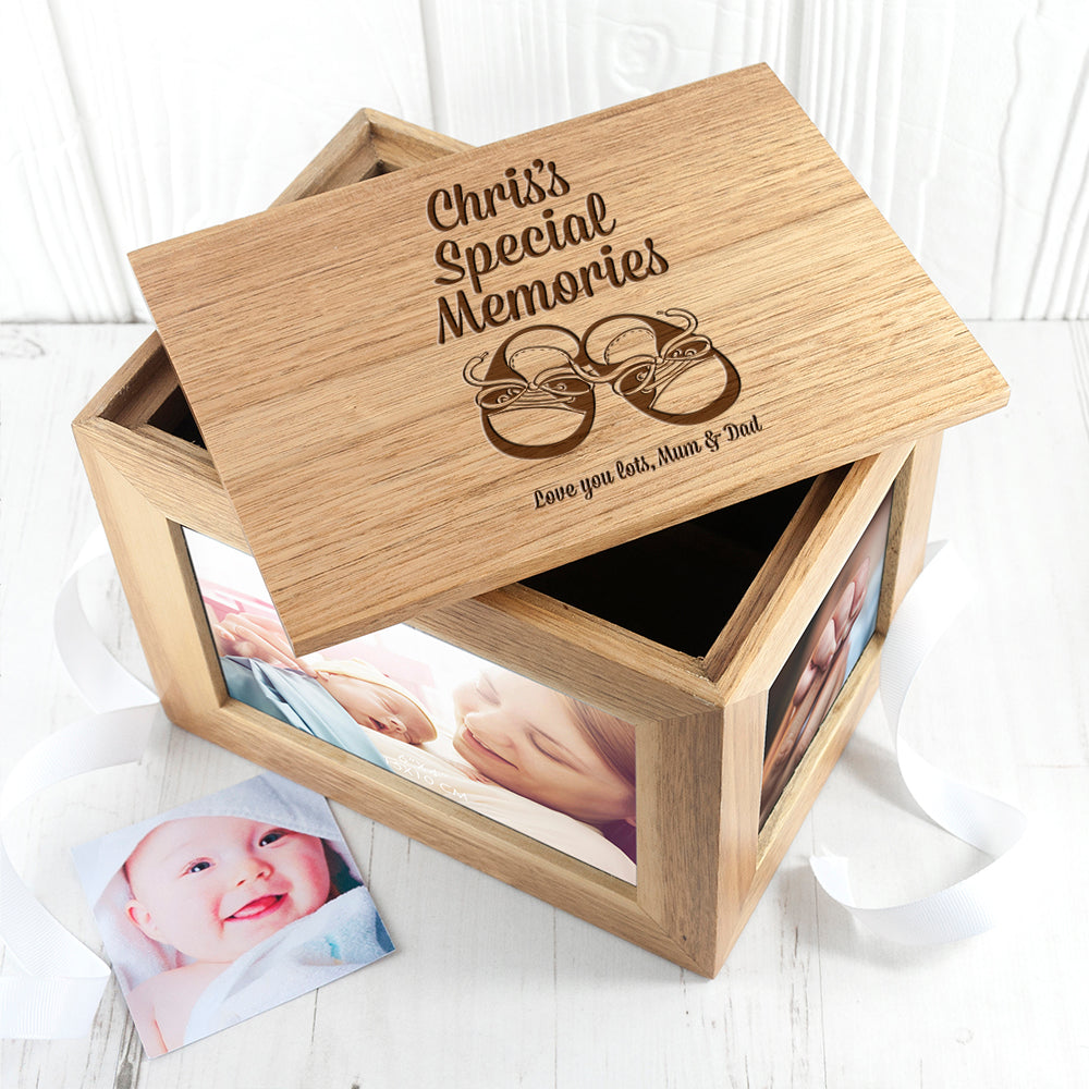 Personalised Baby Shoes Midi Oak Photo Cube Keepsake Box - treat-republic