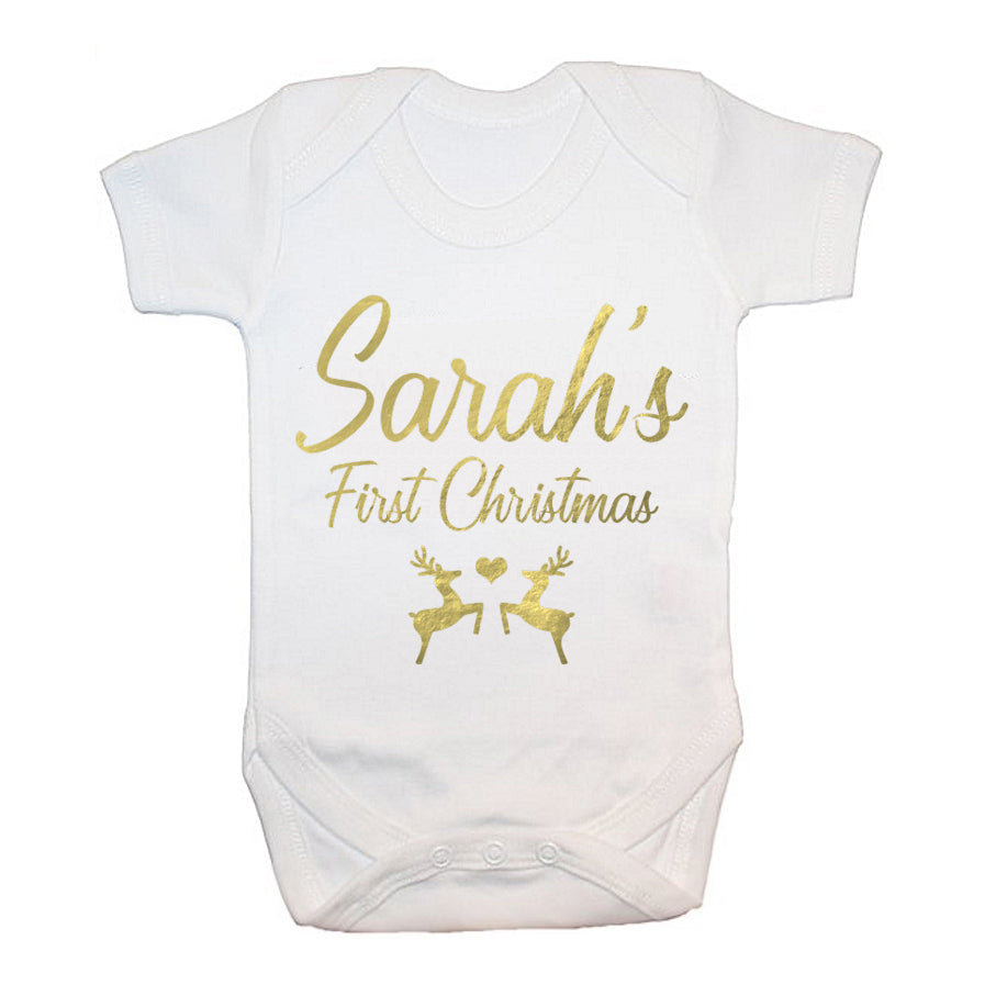 Personalised Baby's First Christmas Baby Grow