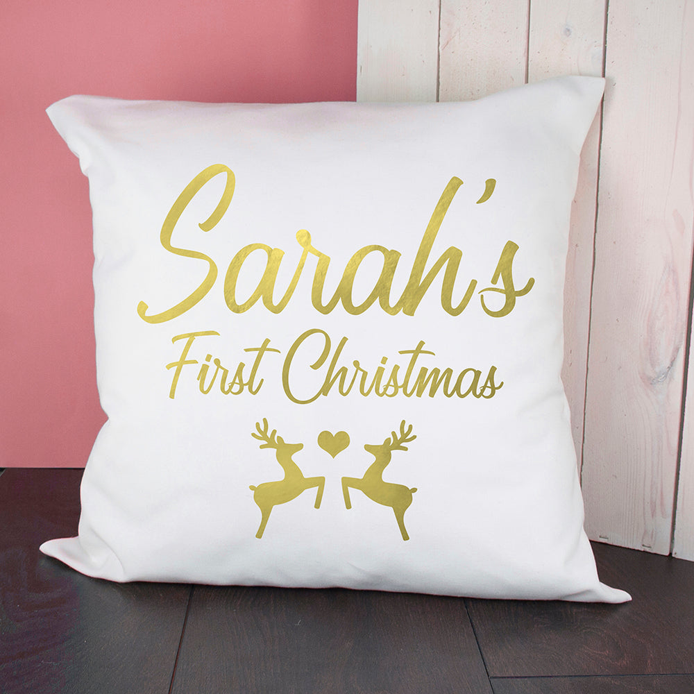 Personalised Baby's First Christmas Cushion Cover