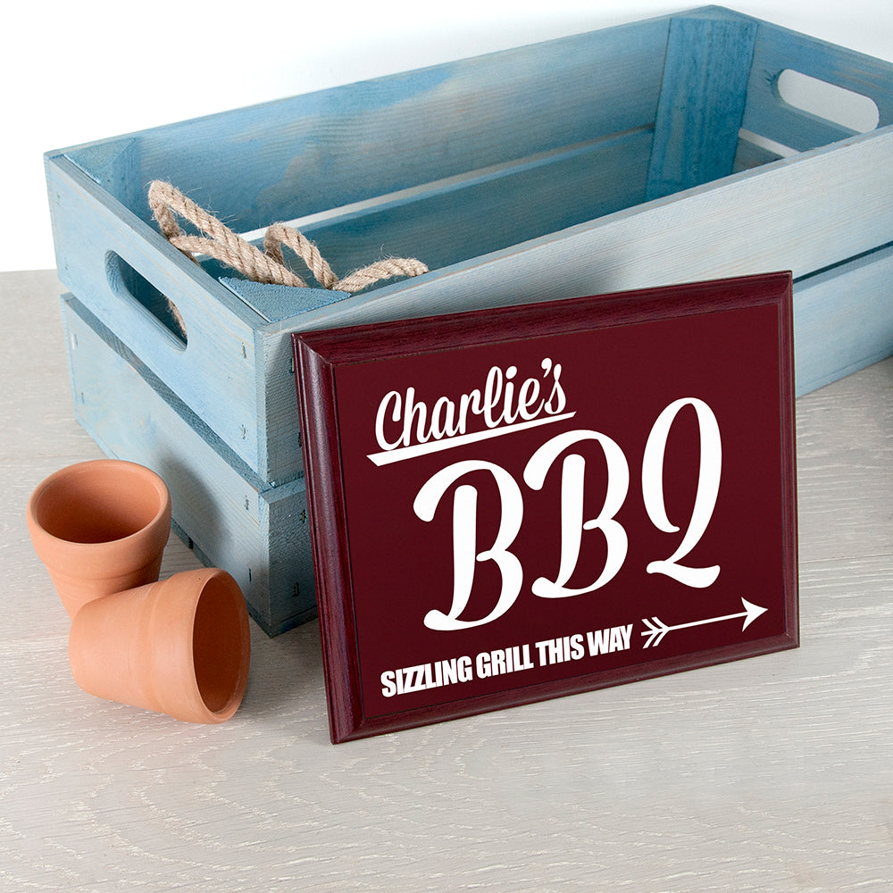 Personalised BBQ This Way! Garden Plaque - treat-republic