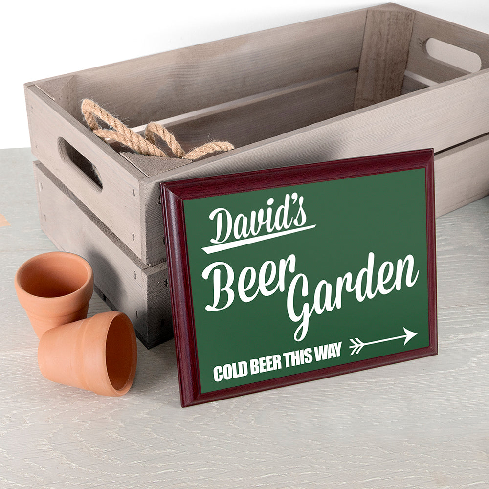 Personalised Beer This Way! Garden Plaque - treat-republic