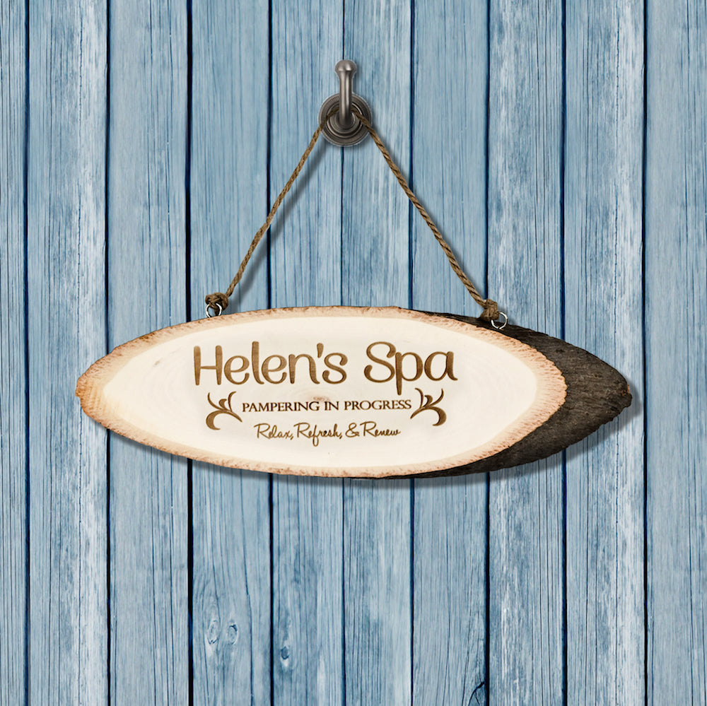 Personalised Birch Spa Sign - treat-republic