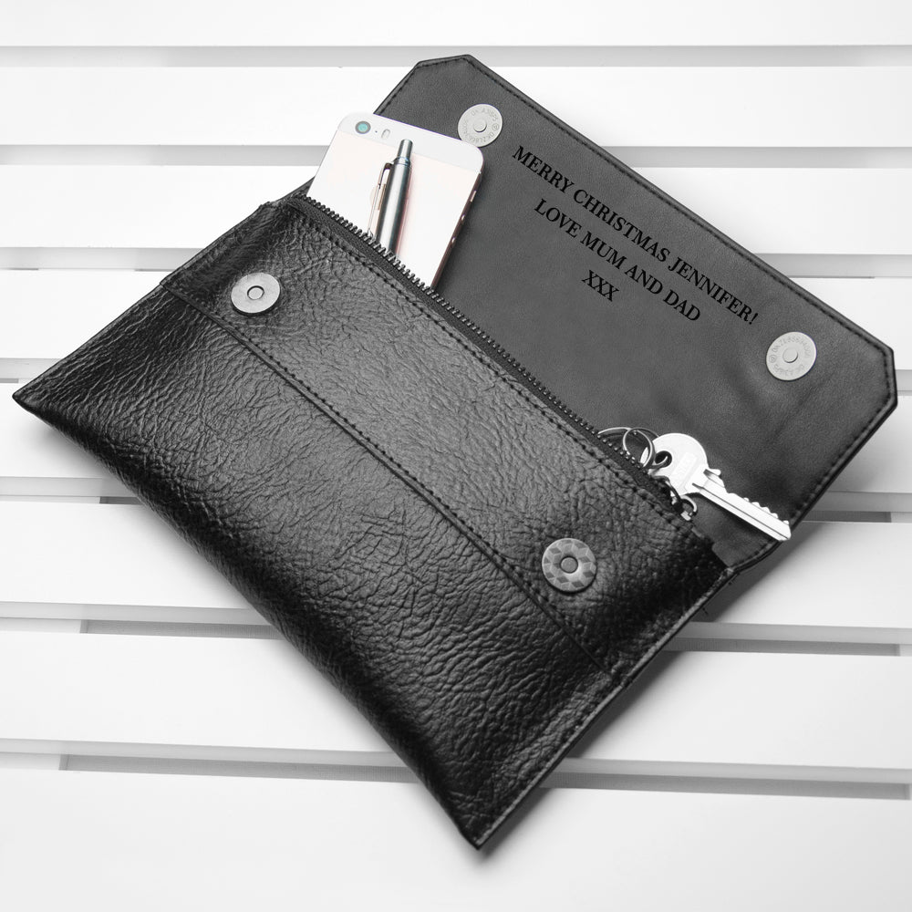 Personalised Black Leather Clutch Bag - treat-republic