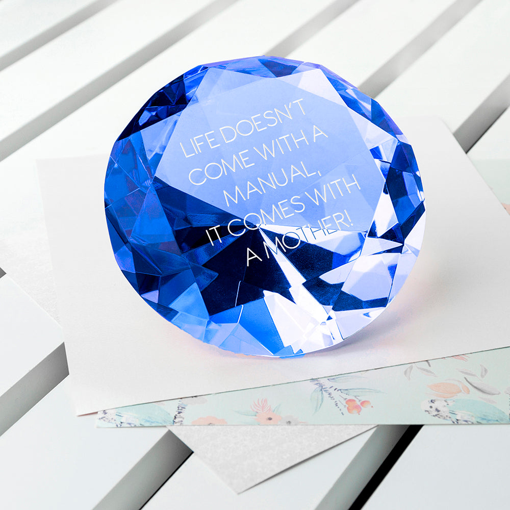 Personalised Blue Diamond Paper Weight - treat-republic