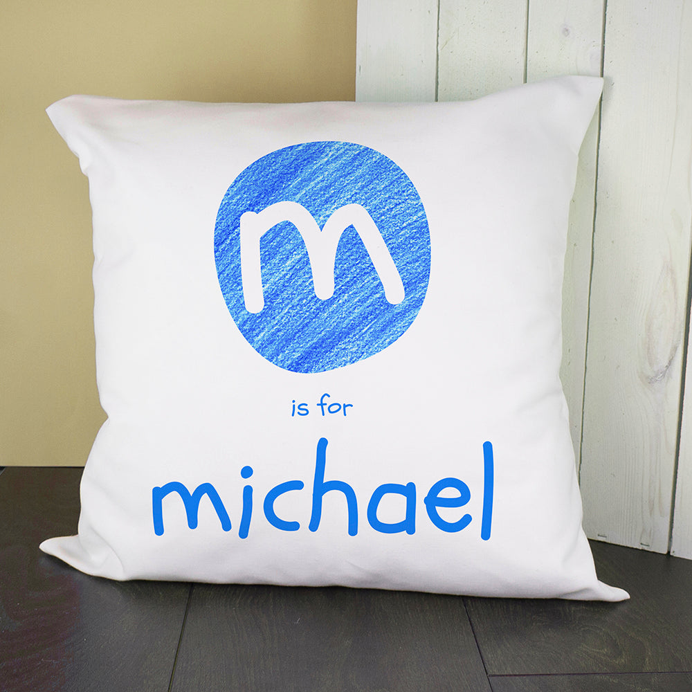 Personalised Blue Initial Cushion Cover - treat-republic