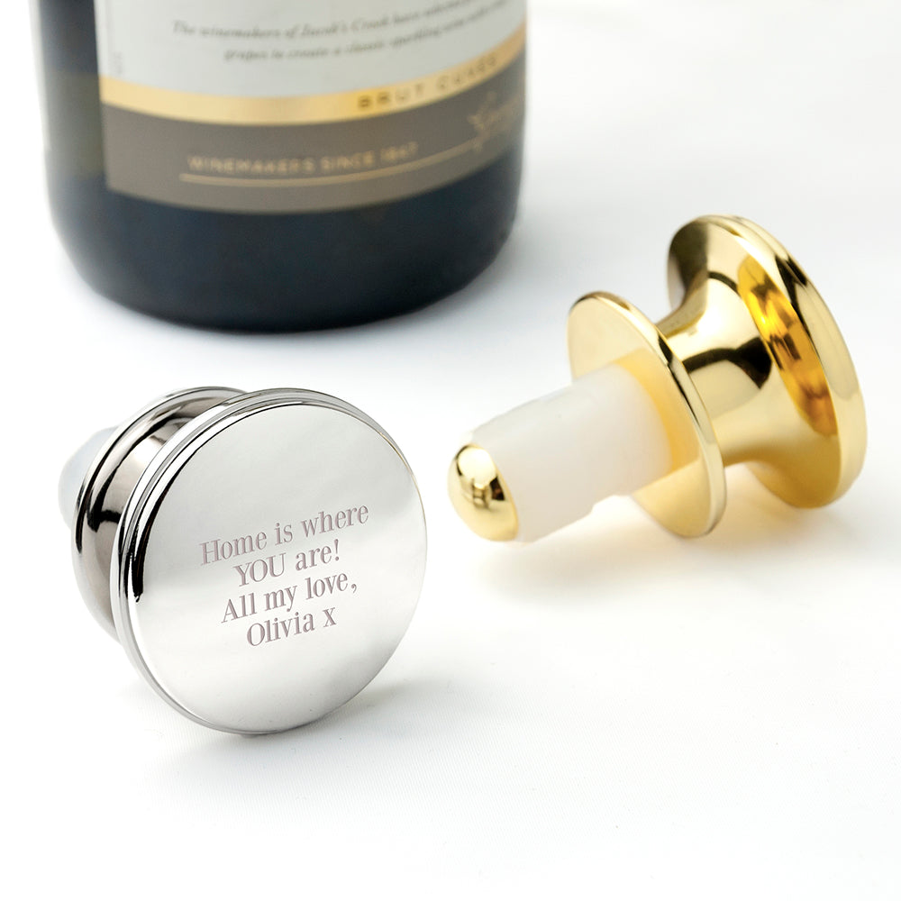 Engraved Message Silver Plated Bottle Stopper - treat-republic