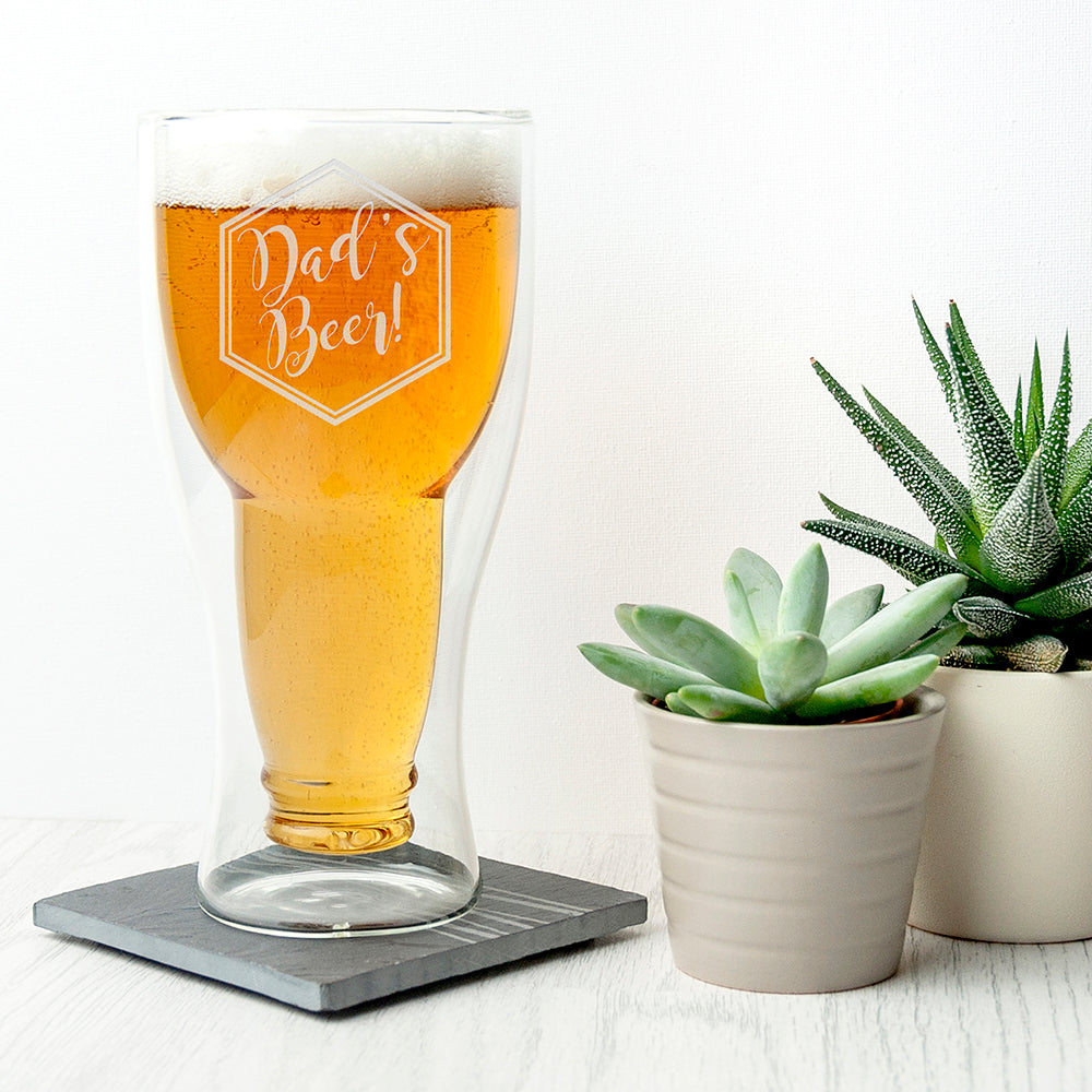 Personalised Bottoms Up Beer Glass - treat-republic