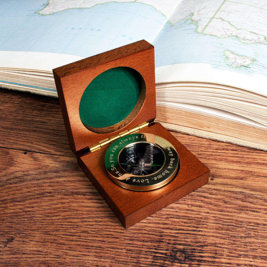 Personalised Brass Traveller's Compass - treat-republic