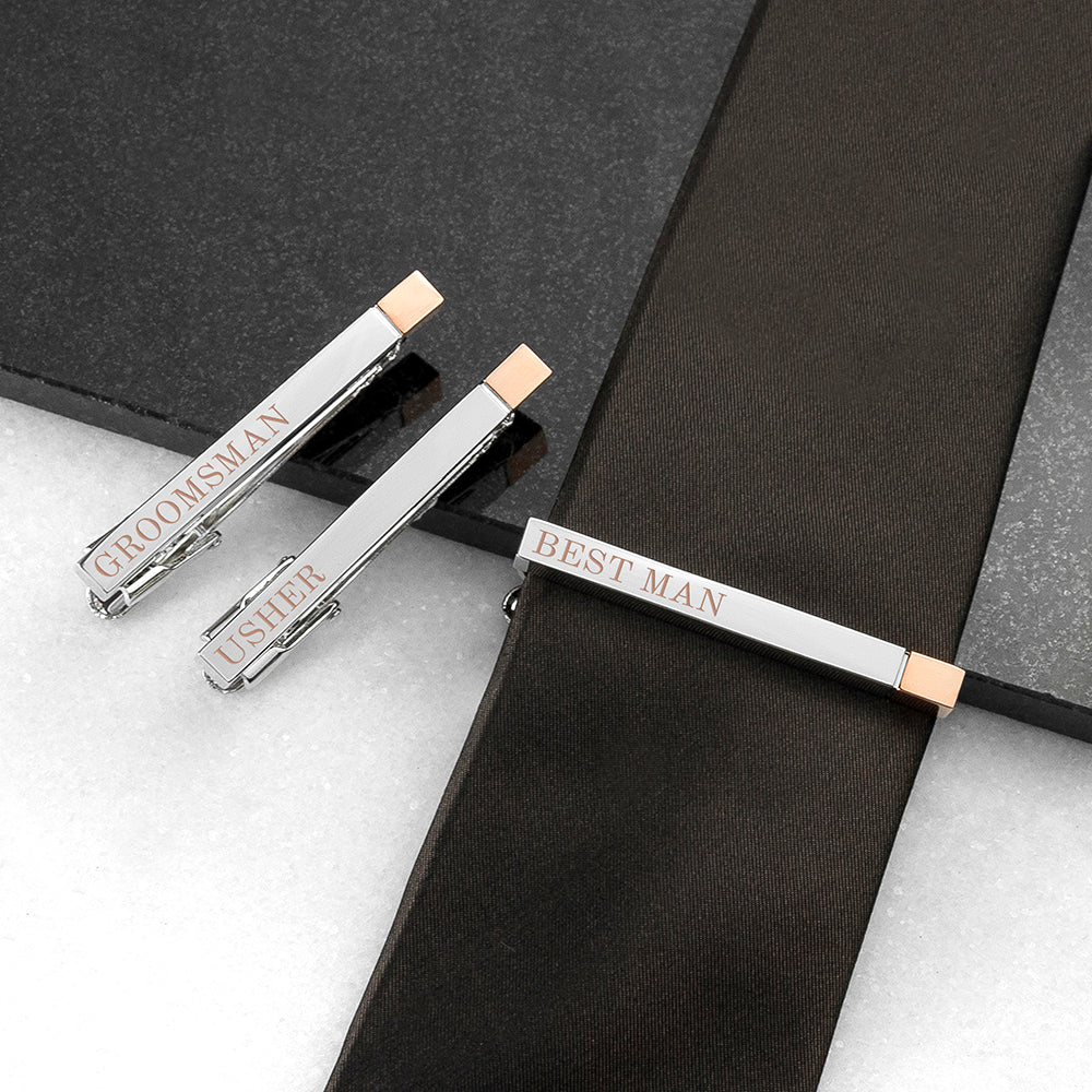 Personalised Bridal Party Two Tone Tie Clip - treat-republic