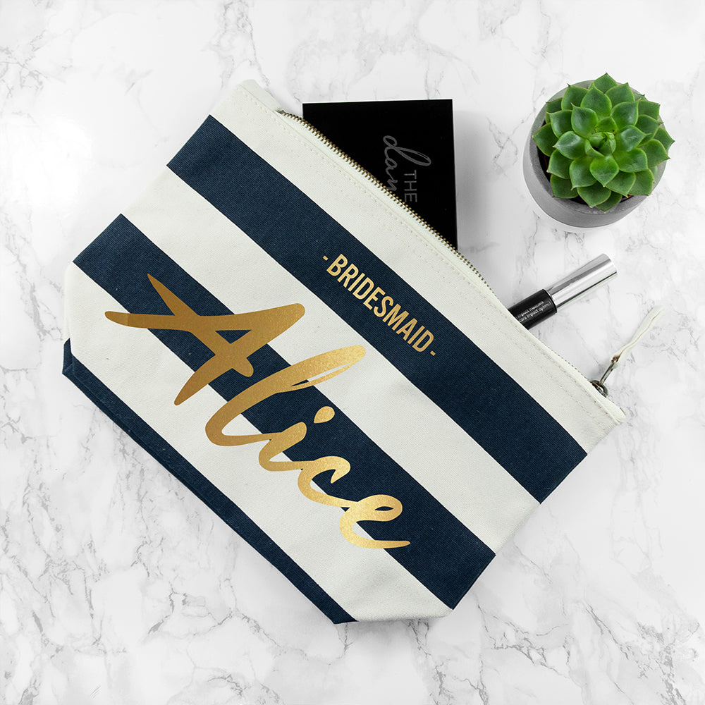 Personalised Bridesmaid Gold On Navy Striped Cosmetic Bag - treat-republic