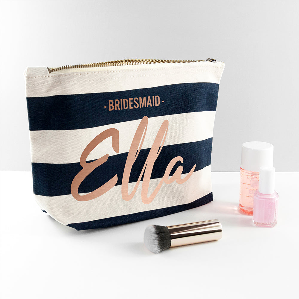 Personalised Bridesmaid Rose Gold On Navy Striped Cosmetic Bag - treat-republic