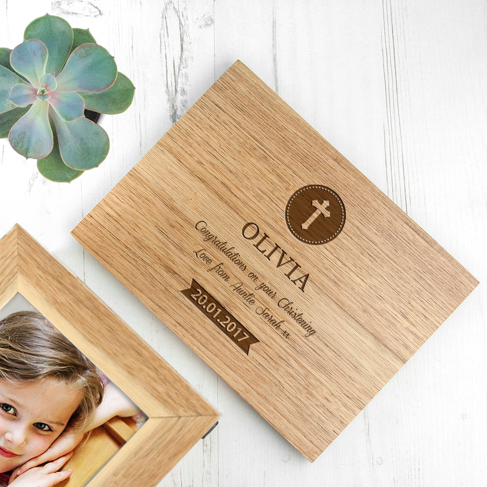 Personalised Christening Cross Midi Oak Photo Cube Keepsake Box - treat-republic