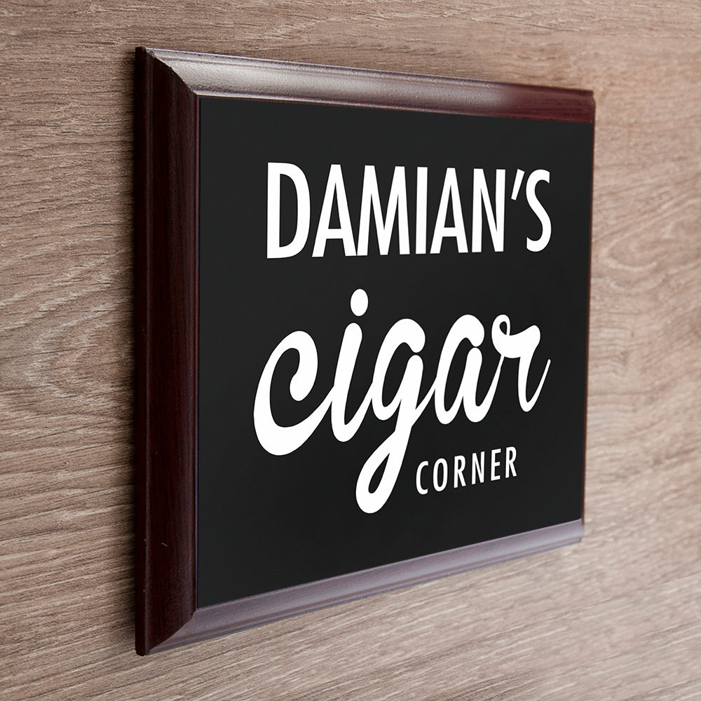 Personalised Classic Cigar Corner Plaque - treat-republic