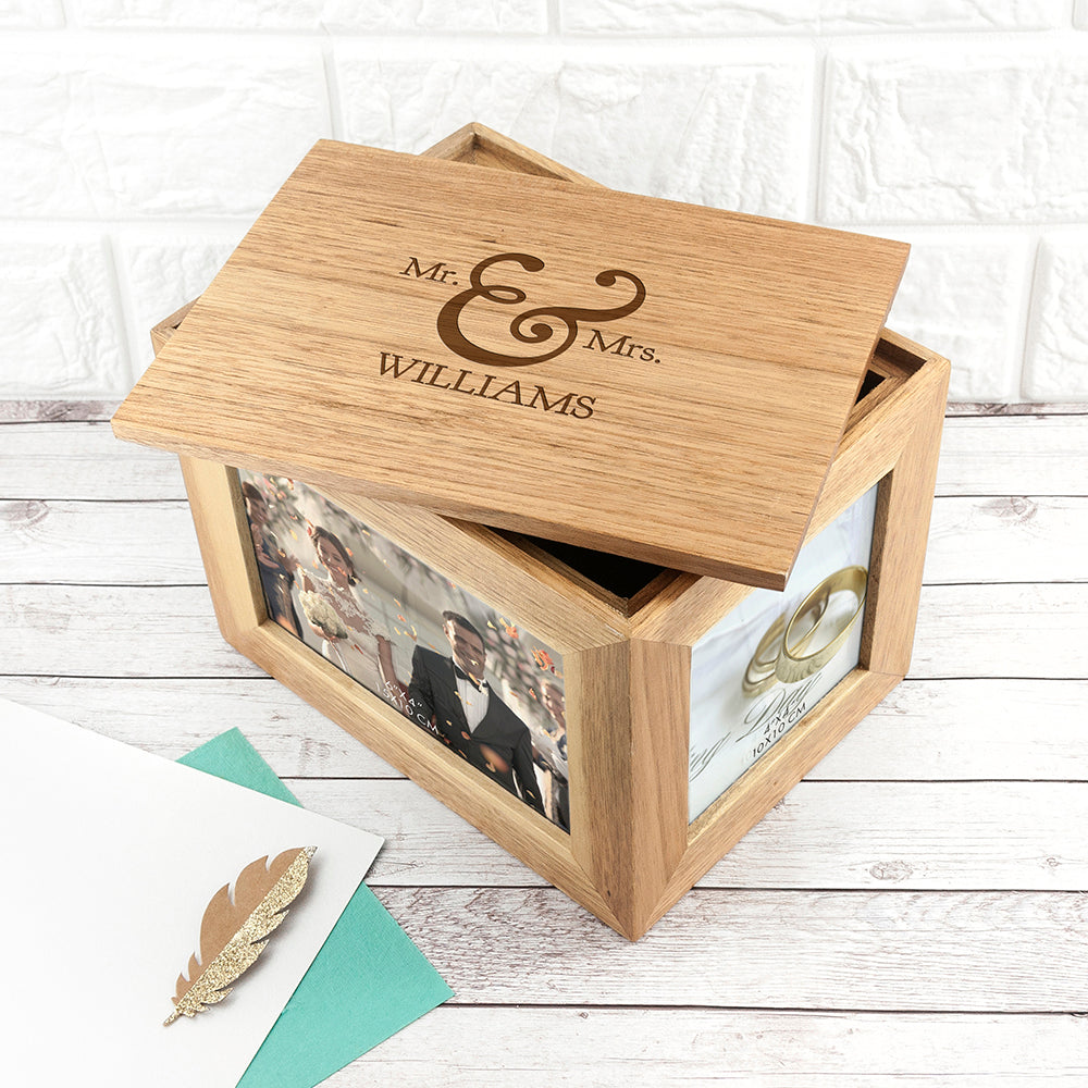 Personalised Classic Mr & Mrs Midi Oak Photo Cube Keepsake Box