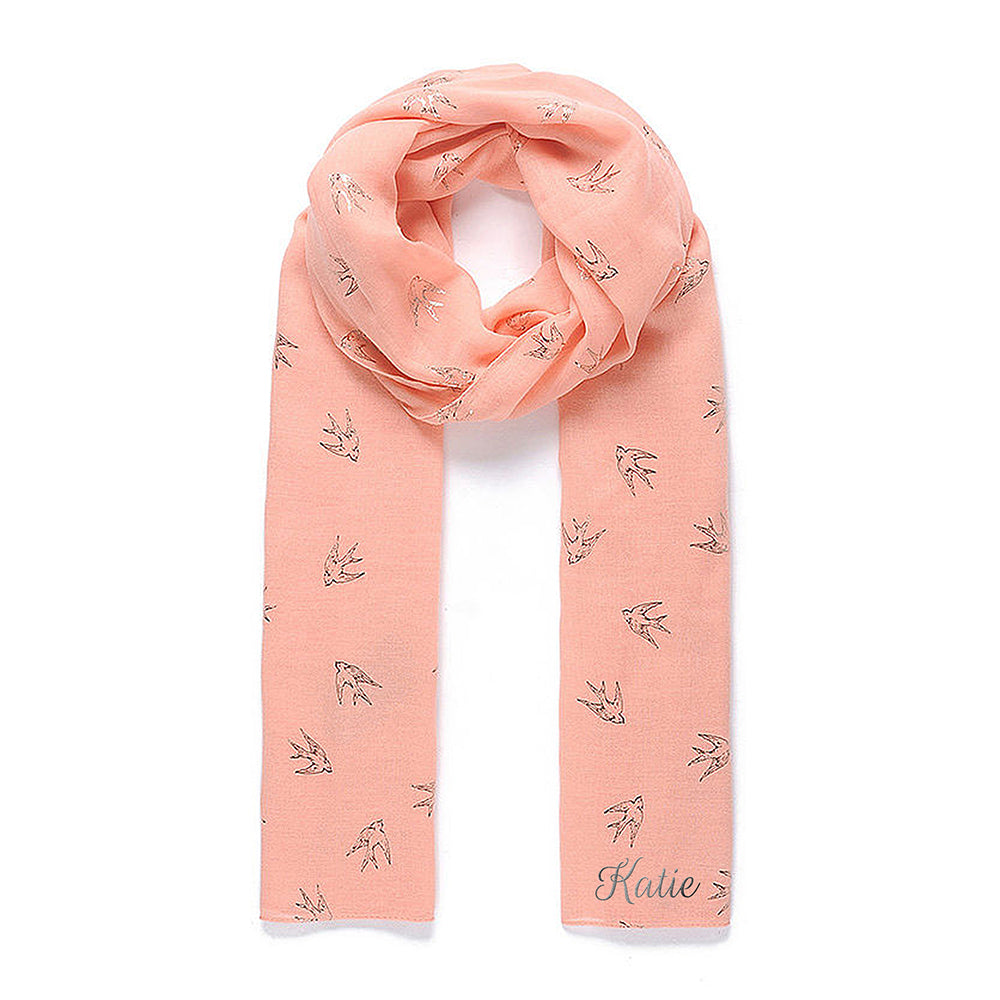 Personalised Coral Scarf With Silver Bird Detail - treat-republic