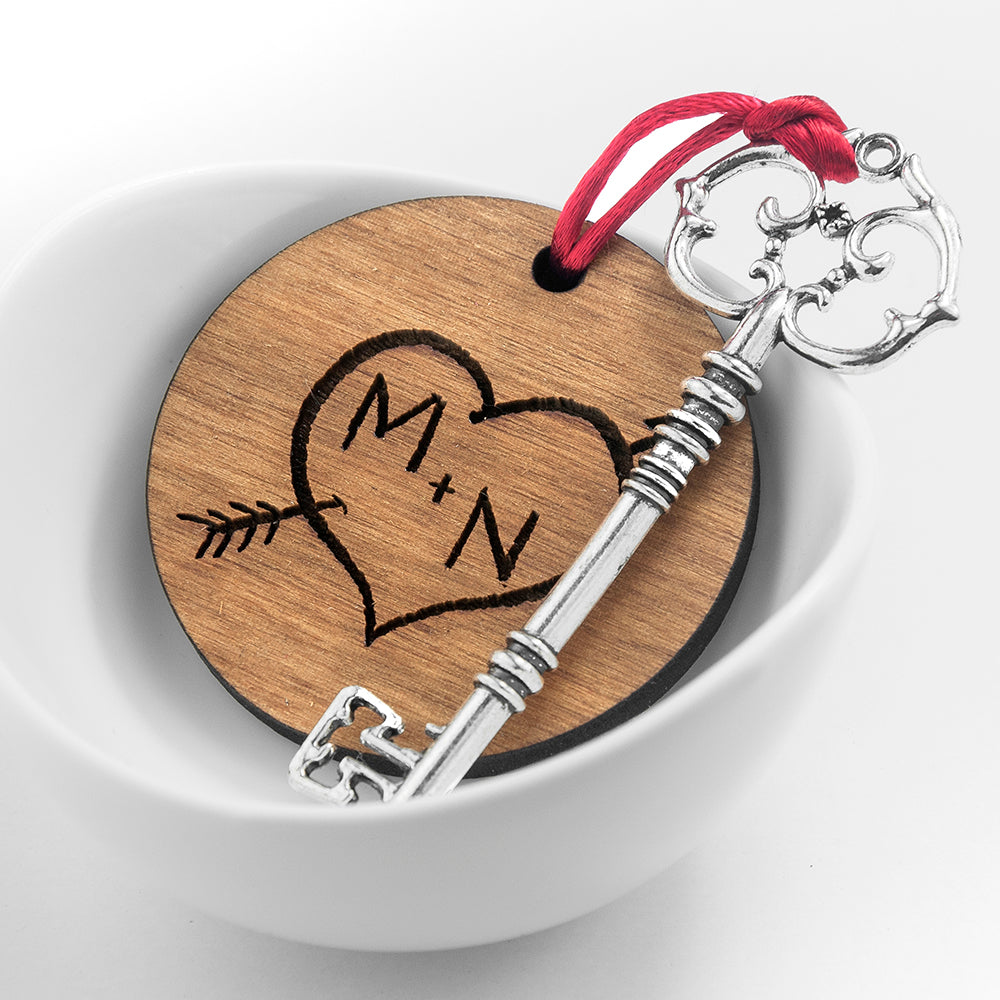 Personalised Couple's Carved Heart Initials Keepsake - treat-republic