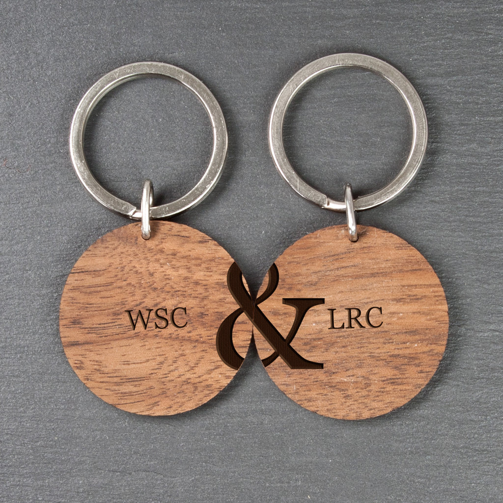 Personalised Couples Set of Two Wooden Keyrings - treat-republic