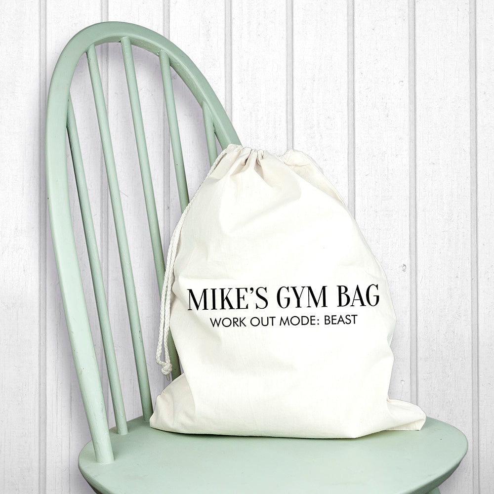Personalised Cotton Cream Gym Bag - treat-republic