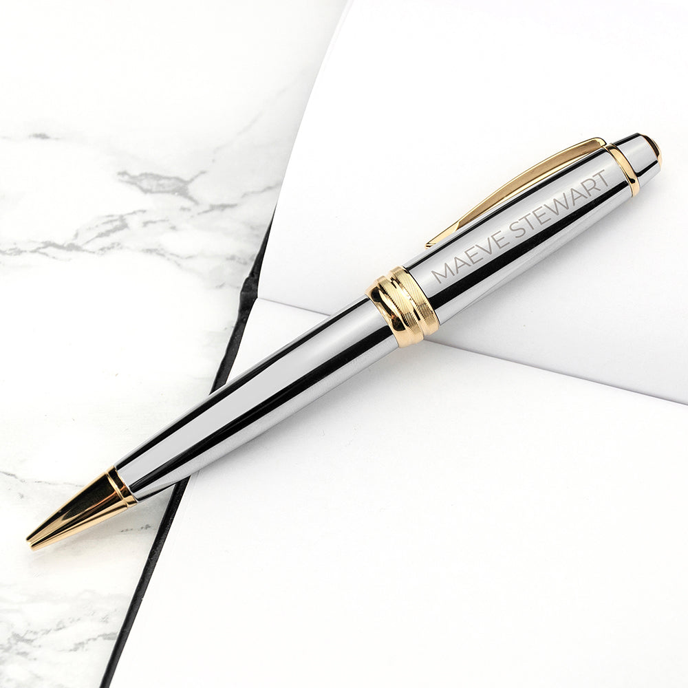 Personalised Cross Silver Gold Medallist Pen - treat-republic