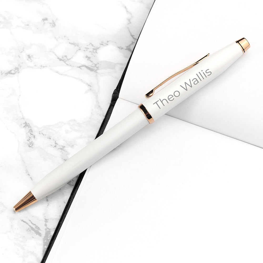 Personalised Cross Century II Pen in White - treat-republic