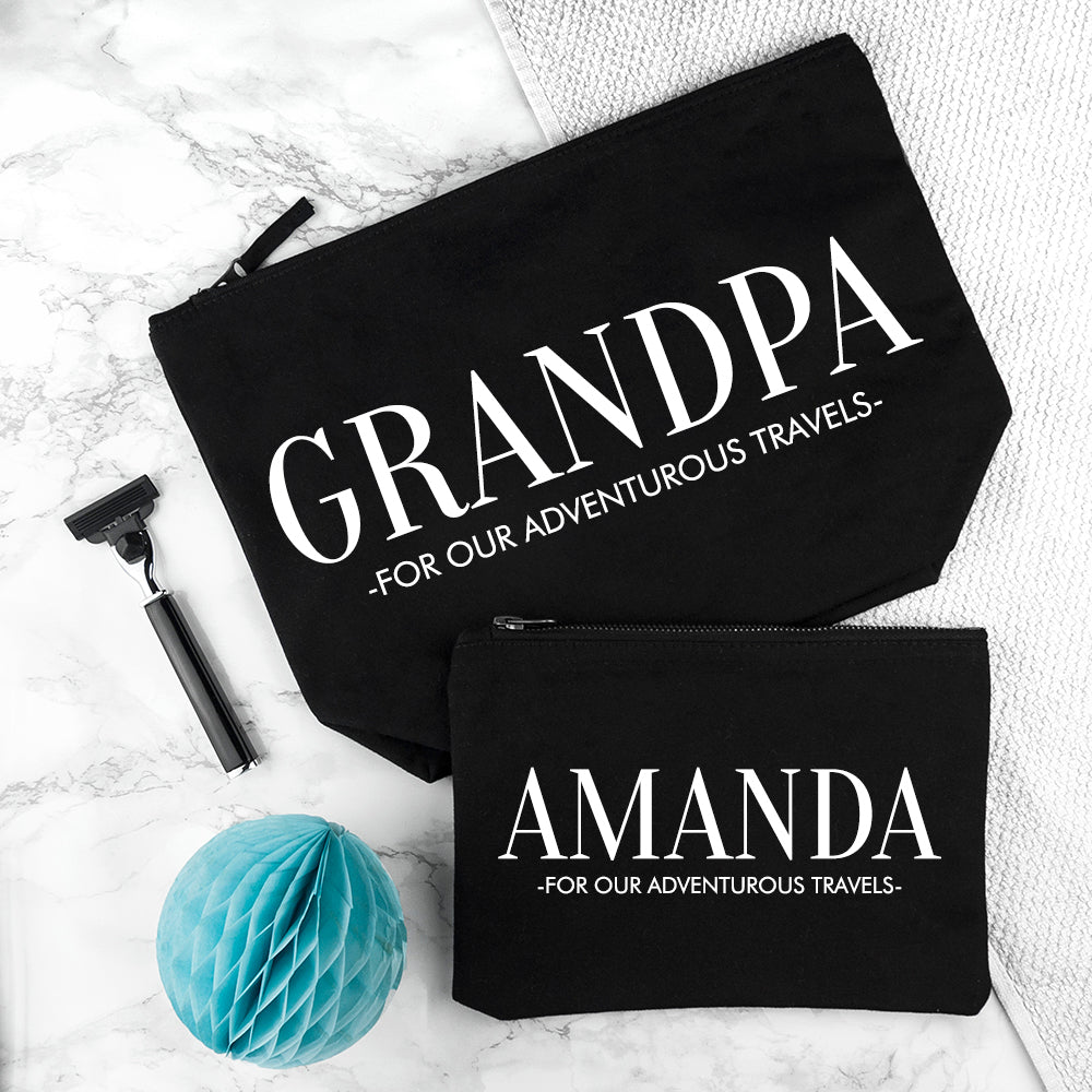 Personalised Daddy & Me Black Wash Bags - treat-republic