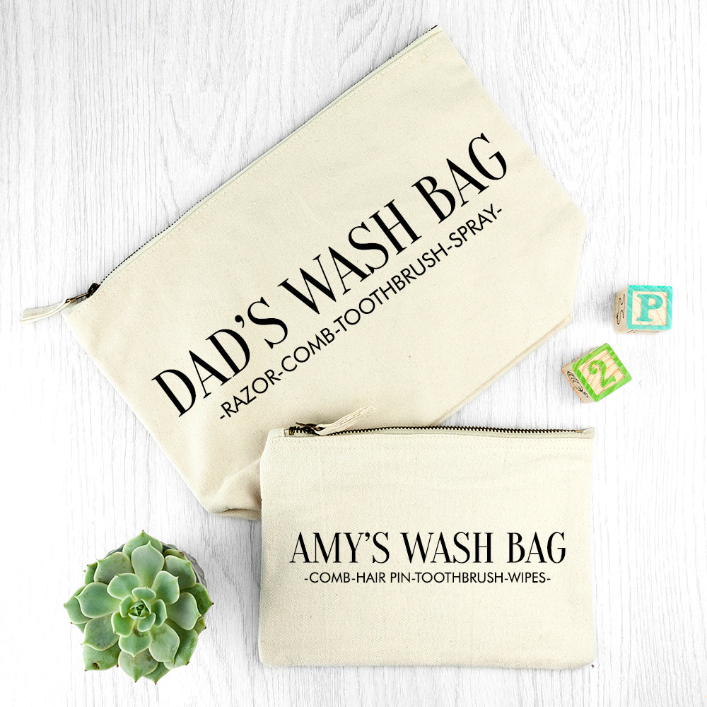 Personalised Daddy & Me Cream Wash Bags - treat-republic