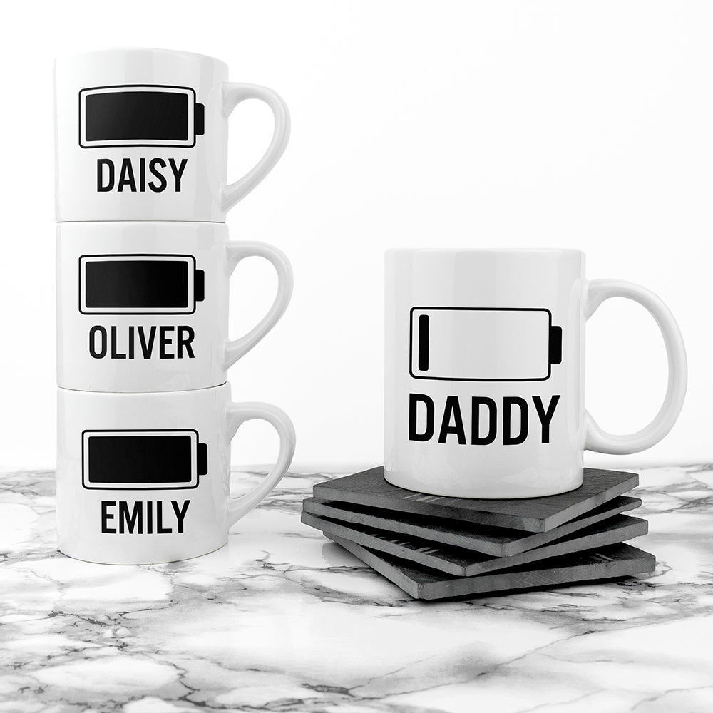 Personalised Daddy & Me Low Battery Mugs - treat-republic